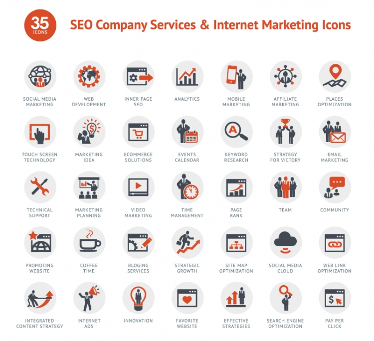 35 iconos para campañas de SEO y Marketing