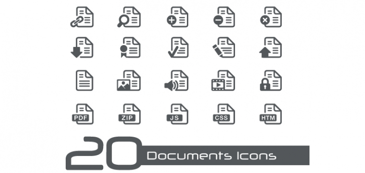 20 iconos de tipos de documentos